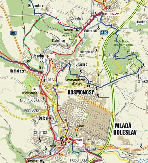 sobotní trasa na sever od Mladé Boleslavi