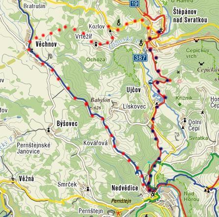 trasa pochodu Za krásami Nedvědice 23.4.2011