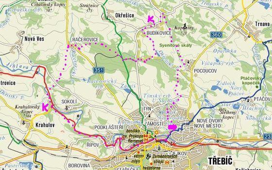 trasa pochodu Oblastí klidu Třebíčsko