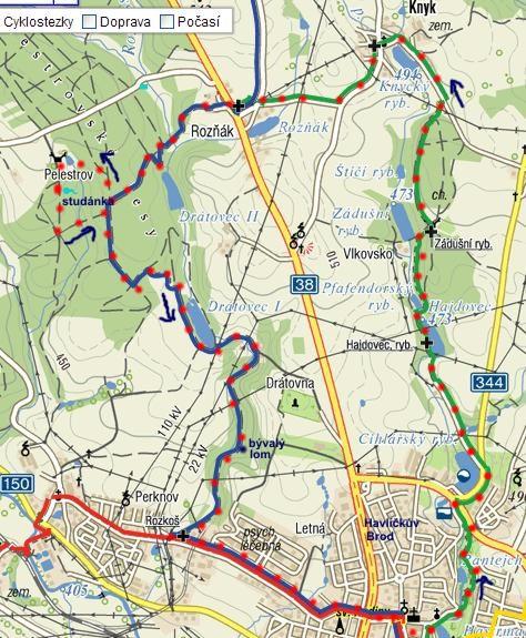 trasa pochodu Jarní Vysočinou v Havlíčkově Brodě 27.3.2011