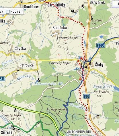 bězkařská trasa z A.Dolu do Okrouhličky a zpět