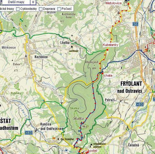 trasa z Metylovic přes Ondřejník a Skalku do Kunčic
