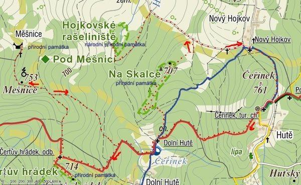 sobotní trasa po přírodních památkách na Čeřínku