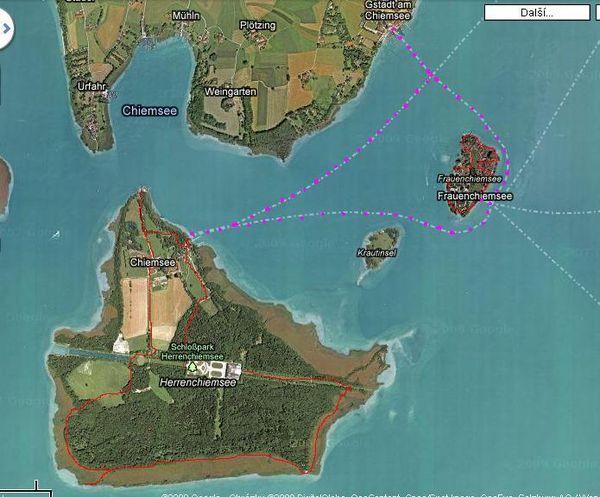 ostrovy v jezeře Chiemsee 24. 7.