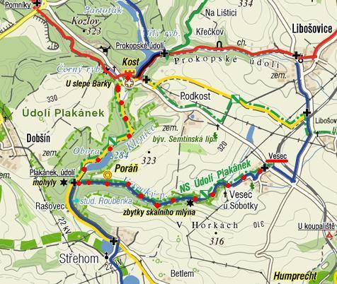 trasa z Vesce údolím Plakánek na Kost 18.8.2011