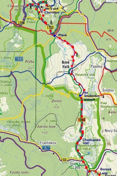 cyklovyjížďka z Borových Lad přes Nové Hutě na Churáňov a zpět - 13.7.2011