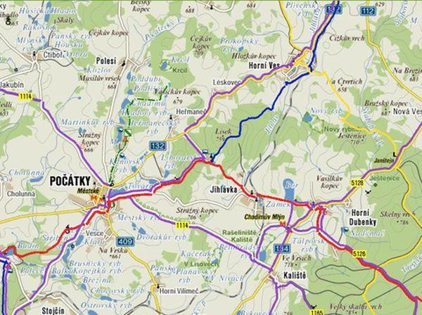 mapa Počátky a okolí
