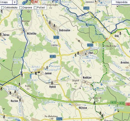 trasa z Polné do Řehořova