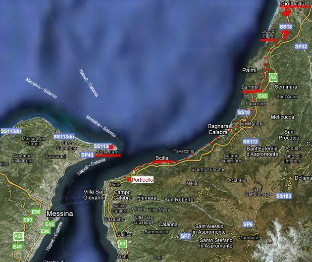 trasa z Porticella do Taureana di Palmi