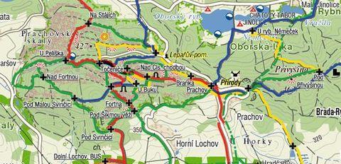 mapka Prachovských skal