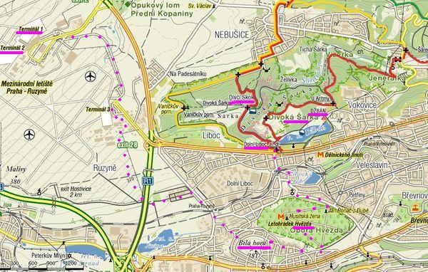 mapka části Prahy, kudy vedla naąe procházka