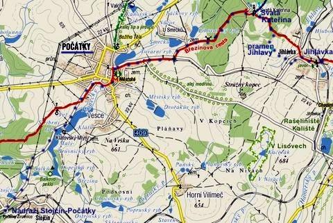 trasa pochodu Jihlaváci k Jihlavě 5. 6. 2011