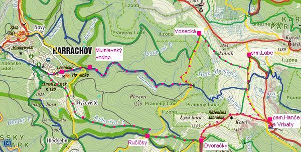 trasa přes Dvoračky k prameni Labe, na Voseckou boudu a kolem Mumlavy zpět do Harrachova