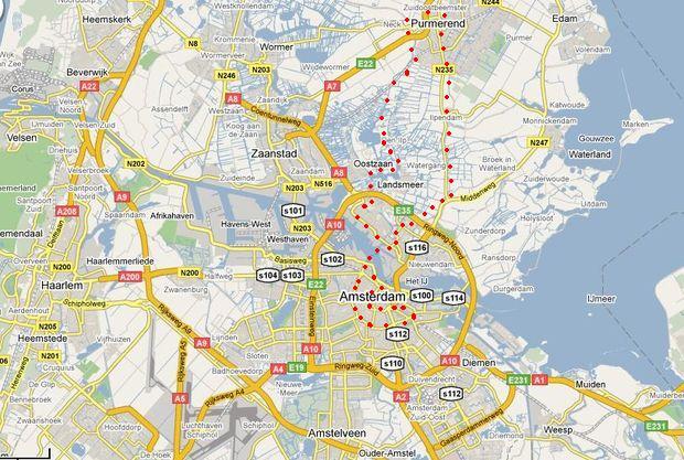 nedělní trasa z Purmerendu do Amsterdamu a zpět