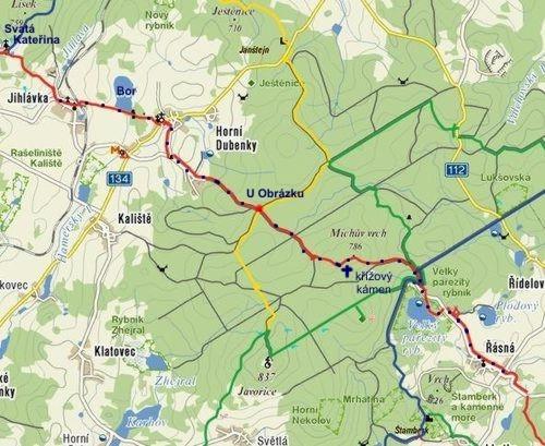trasa pochodu z Řásné do Jihlávky 2010