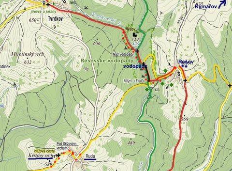 Rešovské vodopády a Křížový vrch