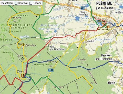 trasa z Rozmitálu na Třemsín