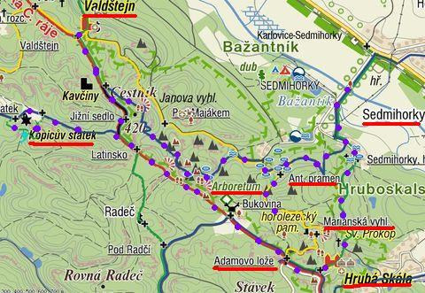 trasa ze Sedmihorek přes Kopicův statek, Valdštejn a zpět 20.8.2011