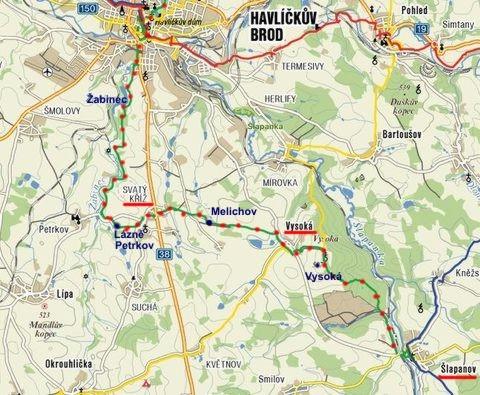 ze Šlapanova přes Svatý Kříž a Petrkov do Havlíčkova Brodu 5.3.2011