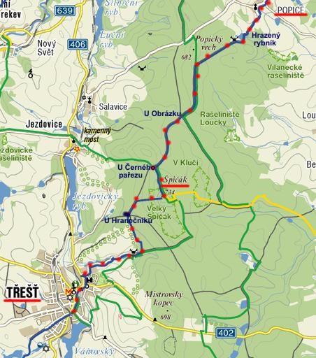 trasa odpolední vycházky za sněženkami na Špičáku 29.3.2011