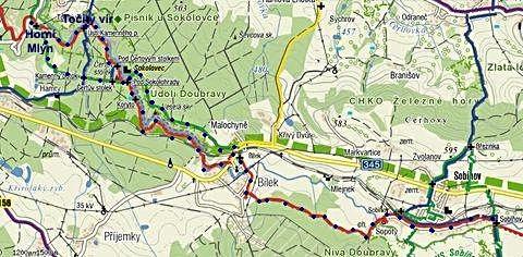 trasa pochodu ze Sobíňova do Horního Mlýna a zpět 6.8.2011