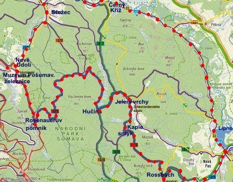 cyklookruh ze Stožce do Nového Údolí, přes Jelení Vrchy, Novou Pec a Černý Kříž do Stožce - 10.7.2011