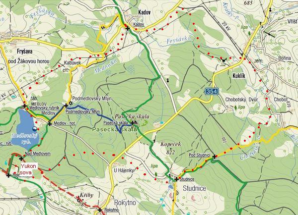 trasa ze Studnic přes Medlov do Studnic
