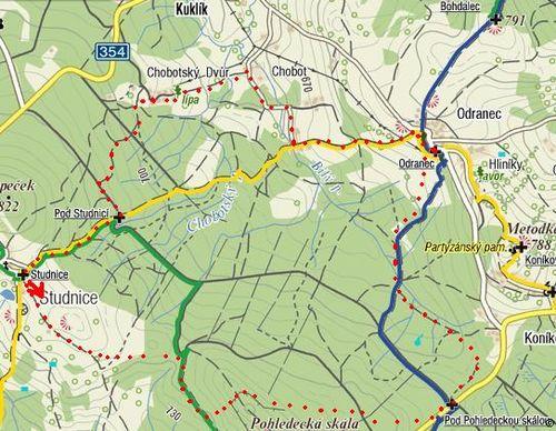 trasa Studnice-Odranec a zpět