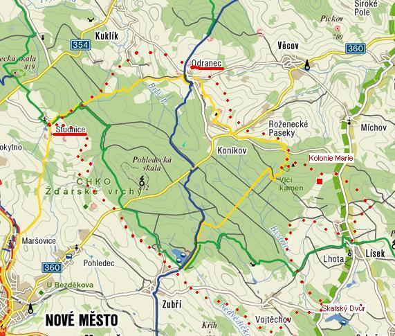 trasa přes Skalský Dvůr zpět do Studnic
