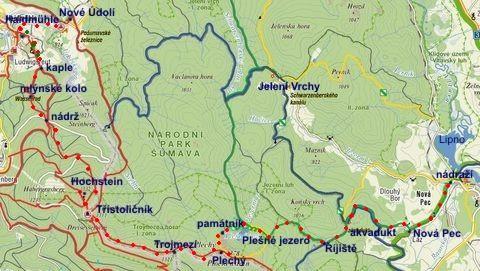 cesta hraničním hřebenem přes Třístoličník a Plechý do Nové Pece 25.8.2011