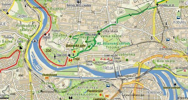 mapka prazské čtvrti Troja