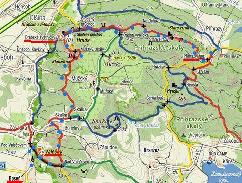 trasa přes Valečov, Drábské světničky a Příhrazské skály 18.8.2011