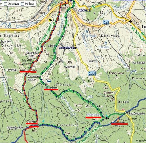trasa Naučné stezky Vizovické prameny