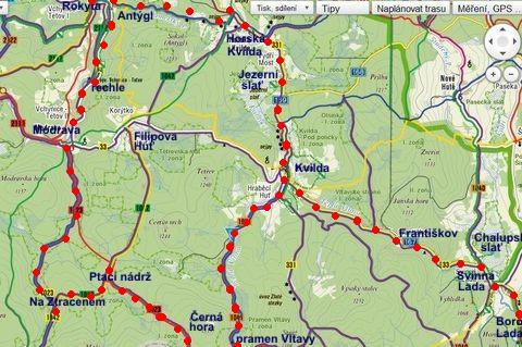 cyklookruh z Borových Lad do Horské Kvildy, na Modravu, Černou horu a k prameni Vltavy, z Kvildy zpět - 11.7.2011