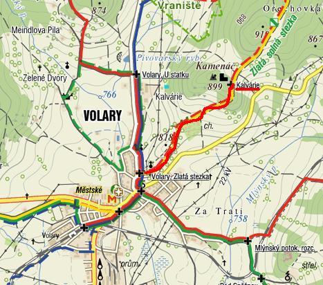 část trasy Zlaté stezky ve Volarech