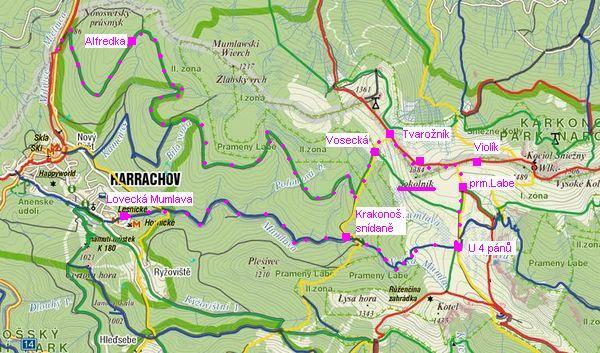 trasa Alfrédka-Vosecká bouda-pramen Labe-Krakonosova snídaně-Lovecká Mumlava