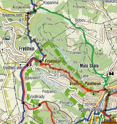 z Kopaniny přes Frýdštejn a Vranov na Malou Skálu