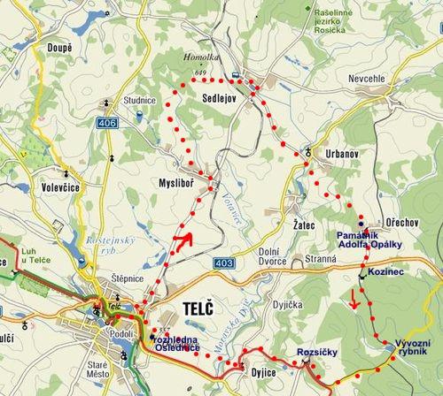 trasa pochodu Vysočinou k Telči 2010
