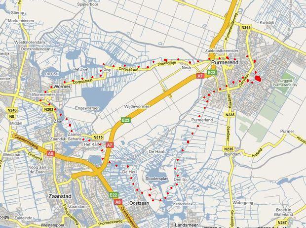 trasa z Purmerendu do Zaanse Schans a zpět