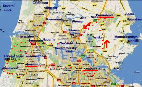 trasa 2.6.2011 - Purmerend, Nauerna, Zandvoort, Haarlem, Amsterodam, Purmerend