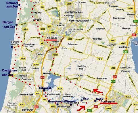 trasa z Purmerendu přes Alkmaar, Petten, po západním pobřeží až do Castricum aan Zee, Uitgeest do Purmerendu - 1.6.2011