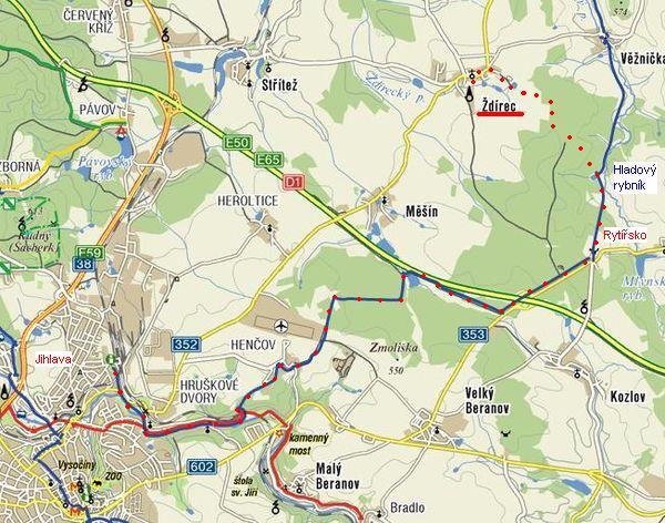 trasa z Jihlavy přes Rytířsko do Zdírce