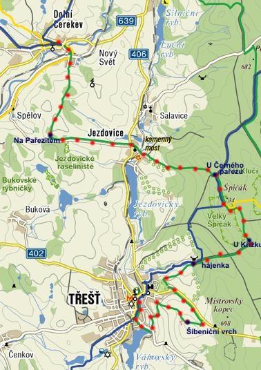 zeleně značená pěší turistická trasa z Dolní Cerekve přes Špičák do Třeště