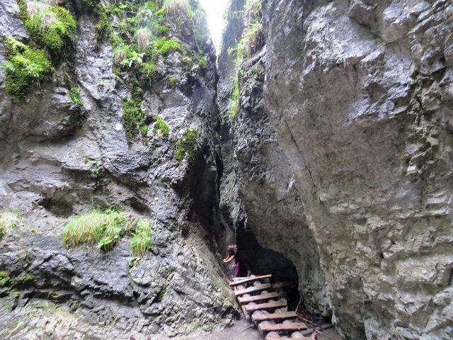 žebříky pomáhají k výstupu skalní průrvou