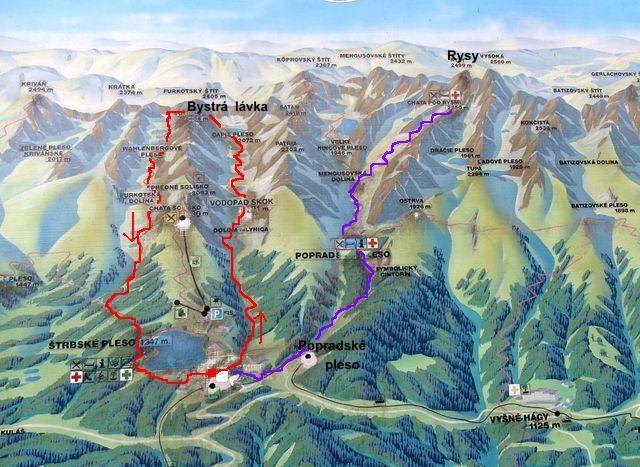 mapka přechodu z Mlynické do Furkotské doliny, fialově vyznačena trasa na Rysy