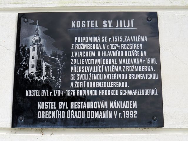 deska na kostele sv. Jiljí