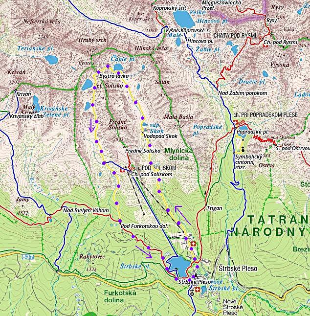 trasa ze Štrbského plesa Mlynickou dolinou k vodopádu Skok, přes Bystrou lávku Furkotskou dolinou zpět do Štrbského plesa 16.8.2014