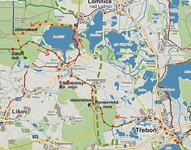 trasa z Třeboně přes Dunajovice a Slověnice, kolem Dvořiště a zpět do Slověnic 21.8.2014