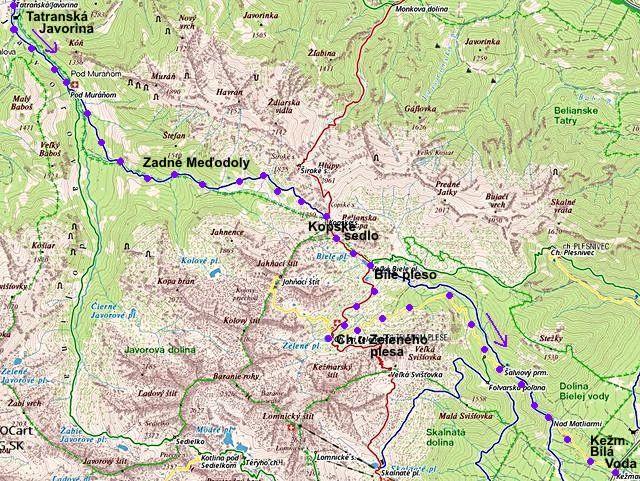 trasa z Tatranské Javoriny přes Meďodoly na Kopské sedlo, Chatu u Zeleného plesa a do Bílé Vody 15.8.2014