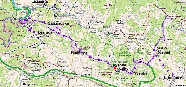 trasa z Litmanové přes sedlo Rozdiel, Vysoké Skalky, Huščavu, Šafranovku, ústí Lesnického potoka do Lesnice 10.8.2014